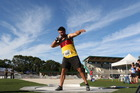 Ryan Ballantyne begins his rotation at the NZ track and field nationals in Hamilton. Photo/Macspeedfoto