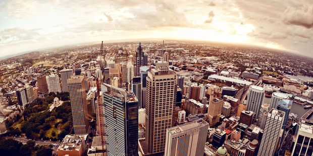 Aerial view of downtown Sydney at sunset. Photo / 123rf
