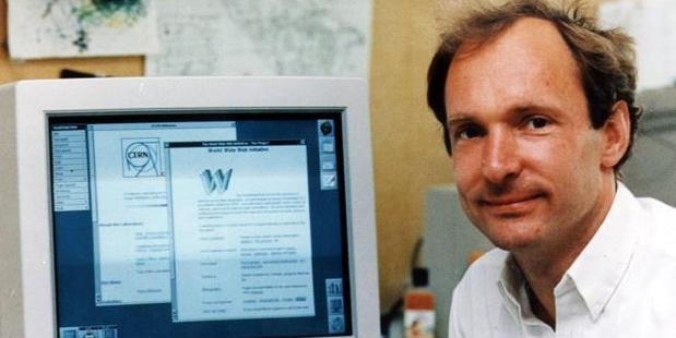 Tim Berners-Lee in his Massachusetts Institute of Technology office, in Cambridge, Massachusetts, with his original web server. Photo / News.com.au