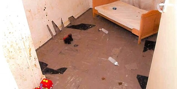 'Sadistic': The image, released by the Crown Prosecution Service, shows the bedroom where the now-jailed father of three kept two of his children.