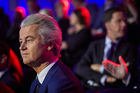 PVV party leader Geert Wilders in the closing debate at Parliament in The Hague. Photo / AP