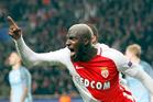Monaco's Tiemoue Bakayoko celebrates his side side's third goal against Manchester City. Photo / AP