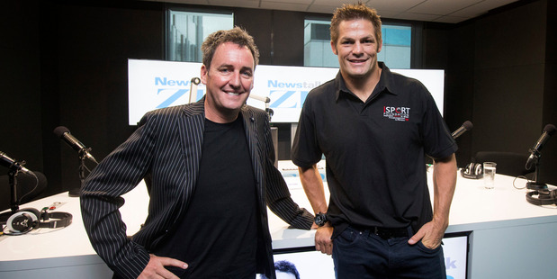 Former All Black Richie McCaw with Mike Hosking. Photo / Jason Oxenham