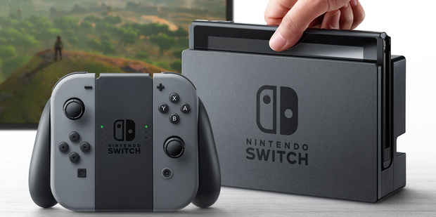 The Nintendo Switch in its docking base, allowing you to game on your television screen.