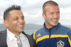 Terry Serepisos, pictured here with David Beckham, was once a minor celebrity in New Zealand. Photo / File