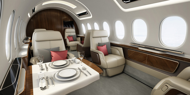 The Aerion AS2 will have a luxurious 30ft-long cabin that will seat up to 12 passengers. Photo / Aerion Corp