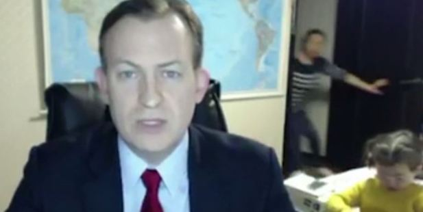 Loading Robert Kelly's live cross with the BBC became video gold after his kids gatecrashed his interview.Photo / BBC
