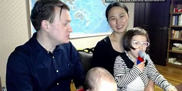 Loading The Kelly family, take two. Robert Kelly, his wife Kim Jung-A and their children, Marion, 4, and 8-month-old James. Photo / BBC video