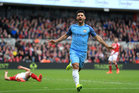 Manchester City's Sergio Aguero celebrates scoring his side's second goal of the game. Photo / AP