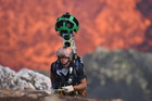 Chris Horsly descends into the volcano with the Google Street View Trekker. Photo/Google