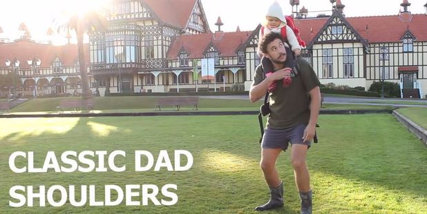 "Jordan demonstrates ""the classic dad shoulders"" move. Photo / YouTube"