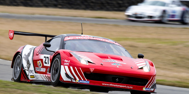 The Trass Family Motorsport Ferrari 458 was hobbled by a pit-lane penalty and a spin. Photo / Matthew Hansen