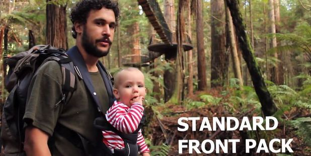 According to Watson, the front pack is not a popular option among dads. Photo / YouTube