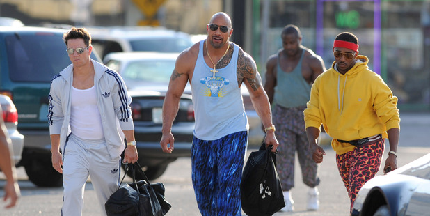 Mark Wahlberg, Dwayne 'The Rock' Johnson and Anthony Mackie are sighted on the set of Pain And Gain. Photo / Getty