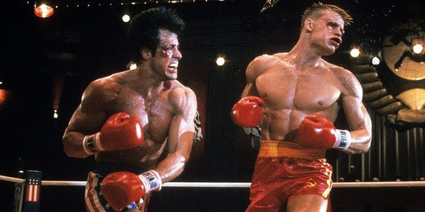 Sylvester Stallone punches Dolph Lundgren in a scene from the film 'Rocky IV', 1985. Photo / Getty