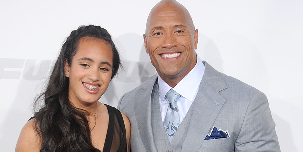 Actor Dwayne Johnson and daughter Simone Alexandra Johnson. Photo / Getty
