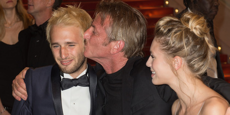 Hopper Penn, Sean Penn and Dylan Penn attend the screening of The Last Face. Photo / Getty