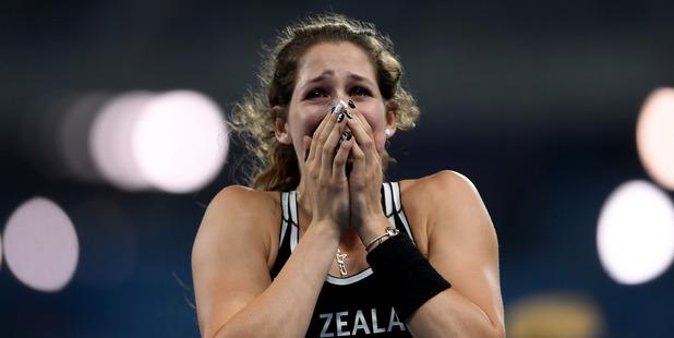 Eliza Mccartney celebrates winning bronze at the Rio Olympics. Photo / Getty Images