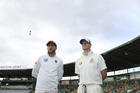 Faf du Plessis of South Africa and Steve Smith of Australia look on during the second test at Hobart. Photo/Getty Images
