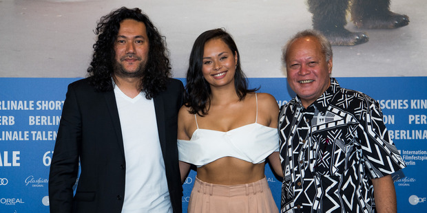 Film director Tusi Tamasese, actors Frankie Adams and Uelese Petaia attend the One Thousand Ropes press conference at the Berlin Film Festival. Photo / Getty