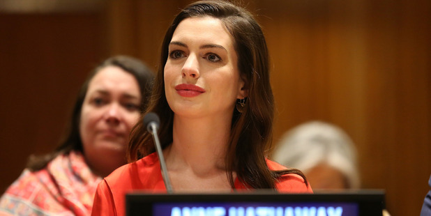 Actress and Global Goodwill Ambassador Anne Hathaway attends the Women in the Changing World of Work: Planet 50-50 by 2030 at 2017 International Women's Day. Photo / Getty