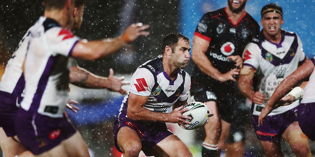 Cameron Smith of the Storm makes a run against the Warriors. Photo / Getty Images