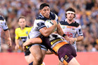 Jason Taumalolo in action against the Brisbane Broncos at Suncorp Stadium in Brisbane on Friday night. Photo / Getty Images.