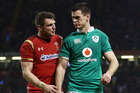 Dan Biggar of Wales and Jonathan Sexton of Ireland in discussion during the Six Nations match. Photo/Getty Images