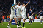 Danny Care of England celebrates after scoring his team's seventh try. Photo / Getty