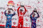 Podium finishers Simon Pagenaud, Sebastien Bourdais and Scott Dixon. Photo / Getty Images
