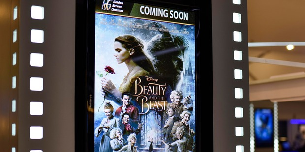 Loading A poster of Beauty and the Beast displayed in LCD at a Golden Screen Cinemas theatre in Kuala Lumpur on March 14, 2017. Photo / Getty
