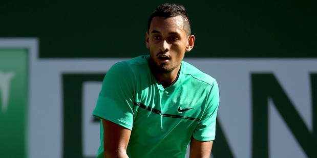 Nick Kyrgios in action at the BNP Paribas Open at the Indian Wells Tennis Garden in Indian Wells, California. Photo / Getty Images.