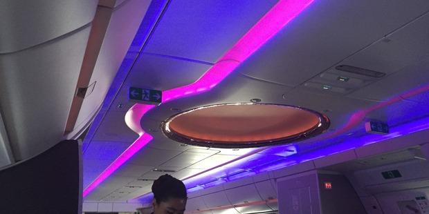 Business class aboard a Qatar Airways Airbus A350.  Photo / Grant Bradley