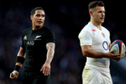 New Zealand's Aaron Smith and Danny Care of England. Photo / Photosport