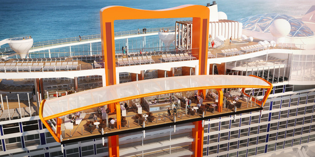 Celebrity Edge's 'Magic Carpet' moves around the edge of the ship. Photo / Supplied