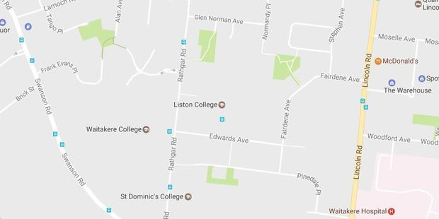 Police are in attendance at the scene of the crash on Rathgar Rd in Henderson, near St Dominics College, when the boy was hit at 3.30 this afternoon. Photo / Google