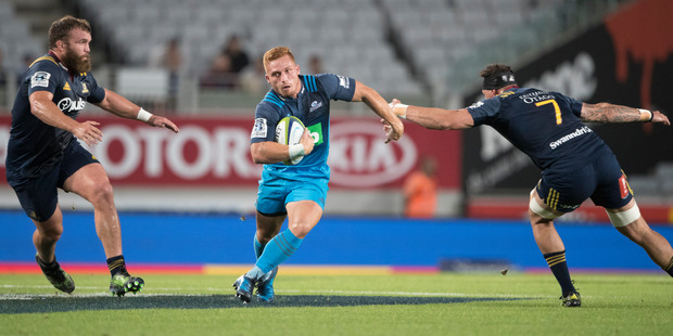 Ihaia West endured a difficult evening in the loss to the Highlanders. Photo / Brett Phibbs