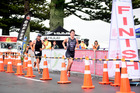 WINNING STYLE: Marra Sprint Triathlon winner Kyle Smith, right, leads Peter Campbell out of transition on the final run leg at Mount Maunganui yesterday. PHOTO: GEORGE NOVAK