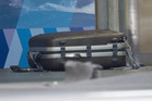 The suspicious suitcase after it was safely denonated in the foyer of the Wellington Police Station. Photo / Mark Mitchell