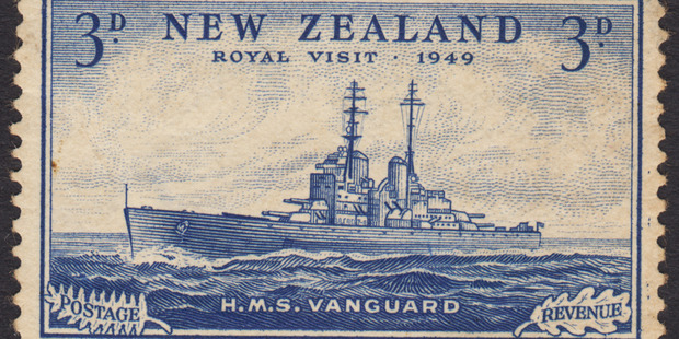 A rare New Zealand 3d HMS Vanguard stamp has fetched a record NZ$67,850 at auction. Photo / Supplied