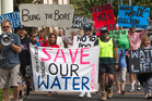 Bung the bore water quality protest. 14 March 2017 Daily Post photograph by Stephen Parker