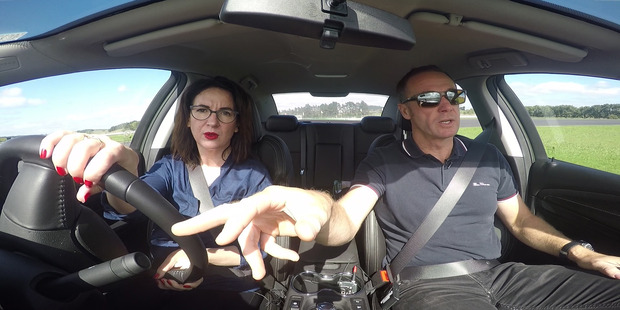 Rebekah Holt attempts to cure her PTSD she got after a bad head-on car crash by having high-speed driver training with Greg Murphy. Photo / NZME