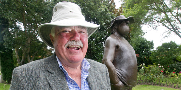 Arthur Waugh pictured next to a statue of Wal Footrot at the funeral of Footrot Flats creator Murray Ball held in Gisborne today. Arthur is Murray Ball's cousin. Photo / Alan Gibson