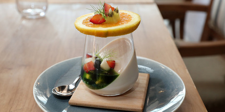 The Taho - organic black soya milk pannacotta with tapioca pearls, fruits and pandan caramel. Photo / NZ Herald