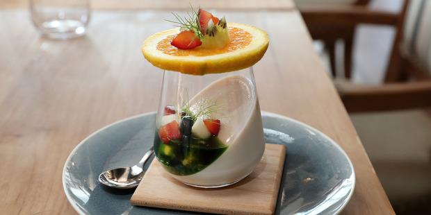 The Taho - organic black soya milk pannacotta with tapioca pearls, fruits and pandan caramel. Photo / NZ Herald
