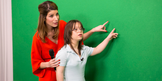 Melanie Segard is assisted by France 2 weather presenter Chloe Nabedian during a training session. Photo / AP