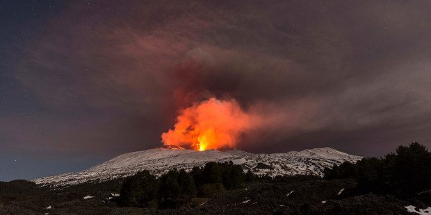 At least 10 people have been injured during this lastest eruption after hot lave hit snow, causing an explosion. Photo / AP