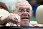 Lou Duva gestures at the Boxing Hall of Fame parade in Canastota, N.Y. in 2011. Photo / AP