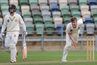 CD seamer Blair Tickner shows balance and poise at McLean Park, Napier, in the Plunket Shield match against Wellington yesterday. PHOTO/Duncan Brown