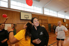 Former Black Sticks captain Kayla Whitelock with students at the Growing Leaders workshop yesterday at Karamu High School. Photo/ Duncan Brown.